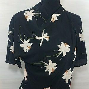 TopShop Black Floral Kimono Style Wrap Dress